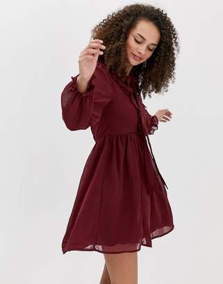 a4bb6cea53 Brave Soul ruffle skater dress with pussybow neck tie in burgundy
