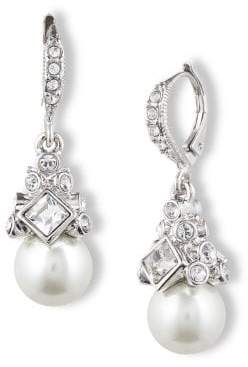 Givenchy Crystal and Glass Pearl Drop Earrings