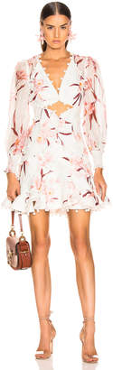 Zimmermann Corsage Bauble Mini Dress in Ivory & Peach Orchid   FWRD