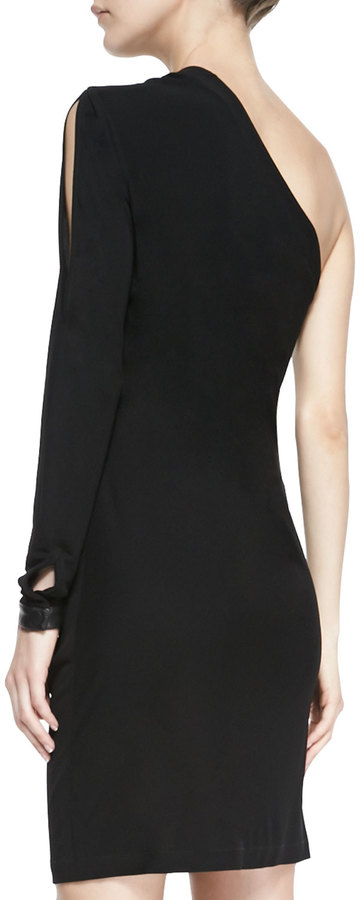 Yigal Azrouel Cut25 by One-Shoulder Ponte/Leather Zip Dress