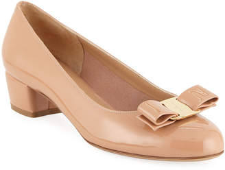 Salvatore Ferragamo Shiny Vara Low-Heel Pumps