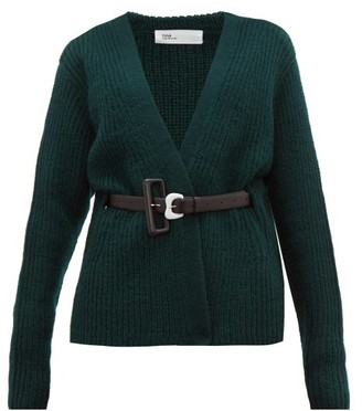 Toga Belted Ribbed Knit Wool Cardigan - Womens - Green