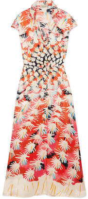 Temperley London Garden Cacti Floral-print Silk-satin Midi Dress