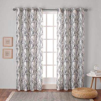 Branches 108-Inch Grommet Top Window Curtain Panel Pair in Indigo