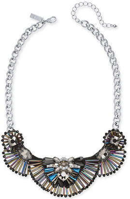 "INC International Concepts I.n.c. Silver-Tone Iridescent Bead Statement Necklace, 16"" + 3"" extender"