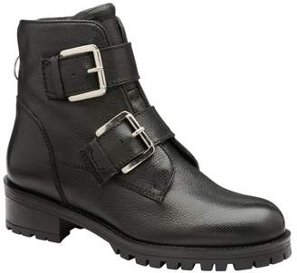 Ravel Womens Buckle Leather Ankle Boot - Black