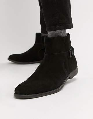 116b54949 Asos Design DESIGN chelsea boots in black suede with strap detail