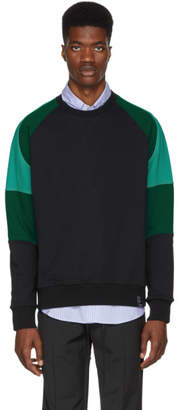 Lanvin Black and Green Colorblocked Sweatshirt