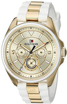 Tommy Hilfiger Women's 'SOPHISTICATED SPORT' Quartz Silver and Gold and Silicone Casual Watch, Color:White (Model: 1781772) $185 thestylecure.com