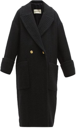 Alexandre Vauthier Double Breasted Wool Blend Tweed Coat - Womens - Black