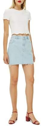 Topshop MOTO Raw Hem Denim Miniskirt