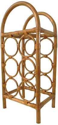 One Kings Lane Vintage Rattan & Bamboo Wine Rack - Osprey Blu