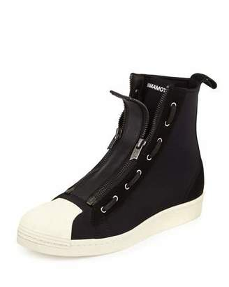 Y-3 Pro Men's Zip-Front High-Top Sneaker, Black/White $350 thestylecure.com