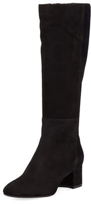 Aquatalia Julie Mixed Suede and Velvet Tall Boot