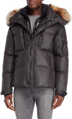 SAM. Lodge Real Fur Trim Hooded Down Coat