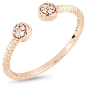 Bony Levy 18K Rose Gold Diamond Detail Disc Cuff Ring - 0.03 ctw
