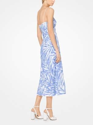 Michael Kors Palm Sequin Linen-Crepe Slip Dress