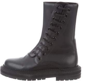 Burberry Leather Combat Boots Black Leather Combat Boots