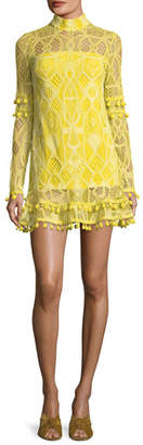 Alexis Callisto Mock-Neck Long-Sleeve A-Line Dress