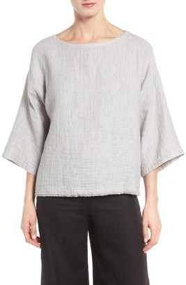 Women's Eileen Fisher Double Weave Organic Linen & Cotton Top $178 thestylecure.com