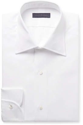 Thom Sweeney White Slim-Fit Cutaway-Collar Bib-Front Cotton-Poplin Tuxedo Shirt
