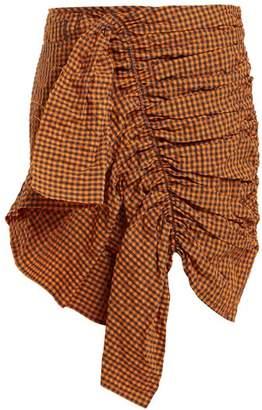Marques Almeida Marques'almeida - Ruched Gingham Taffeta Skirt - Womens - Orange Multi