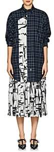 Balenciaga Women's Layered-Look Silk & Cotton Dress - Blue