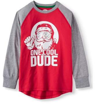 Long Sleeve Raglan Christmas Holiday Graphic T-shirts (Little Boys & Big Boys)