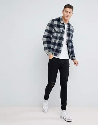 Asos Design DESIGN borg western jacket in gray check