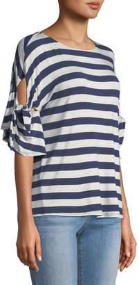 Neiman Marcus Striped Tie-sleeve Tee