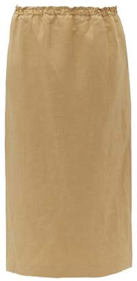 Raey Elasticated Waist Silk Blend Midi Skirt - Womens - Tan