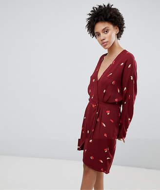 Selected Printed Wrap Dress