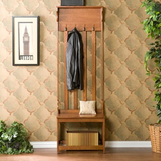 Southern Enterprises Mission Oak Hall Tree Entry Bench