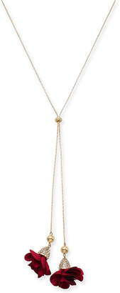 "INC International Concepts I.n.c. Gold-Tone Fabric Rose 38"" Lariat Necklace"