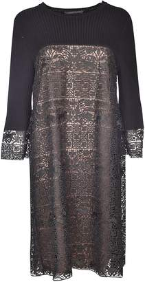 Alberta Ferretti Embroidered Panel Knit Dress