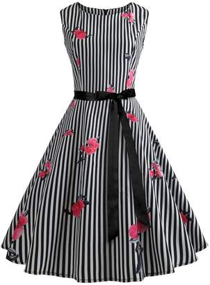 Wellwits Women's Print Sash Waist Tie Vintage Retro Dress L