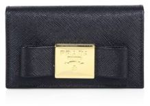 prada Prada Bow Saffiano Leather Card Wallet