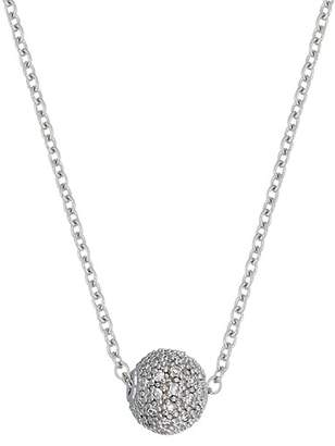 Carriere Sterling Silver Pave Diamond Ball Pendant Necklace - 0.16 ctw