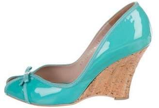 Salvatore Ferragamo Patent Leather Peep-Toe Wedges