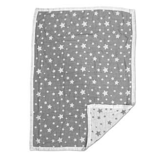 Living Textiles Muslin Jacquard Blanket, Grey Stars