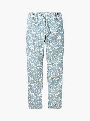 Boden Mini Girls' Corduroy Woodland Print Leggings, Boathouse Blue