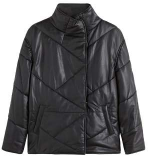 MANGO Leather quilted coat