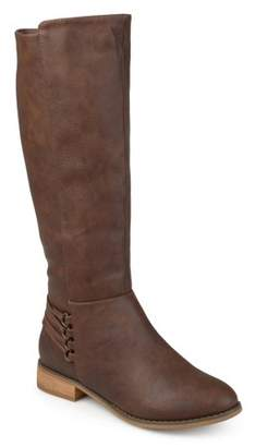 Co Brinley Women's Wide Calf D-ring Strap Distressed Faux Leather Riding Boots