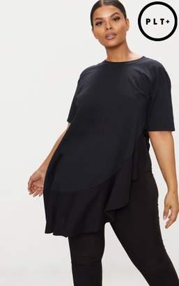 PrettyLittleThing Plus Black Frill Detail Oversized T-Shirt