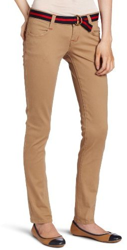 Southpole Juniors Belted Ribbon Skinny Stretch Pant With Contrast Color Stitch