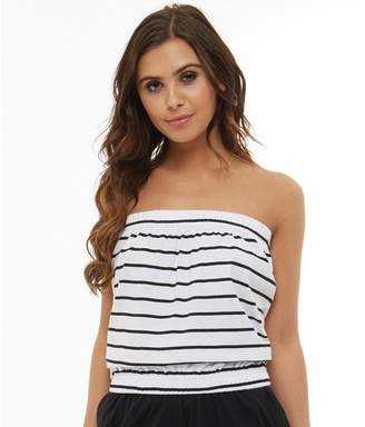 Board Angels Womens Yarn Dyed Striped Jersey Boob Tube White/Black