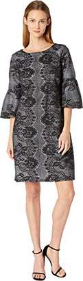 Gabby Skye Women's 3/4 Bell Sleeve Round Neck Lace Fit & Flare Dress