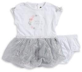Petit Lem Baby Girl's Two-Piece Graphic Dress and Bloomers Set