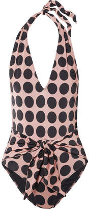Stella McCartney Ballet Dots Tie-front Printed Halterneck Swimsuit - Blush