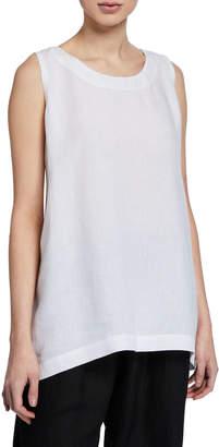 eskandar Round-Neck A-Line Shell, White